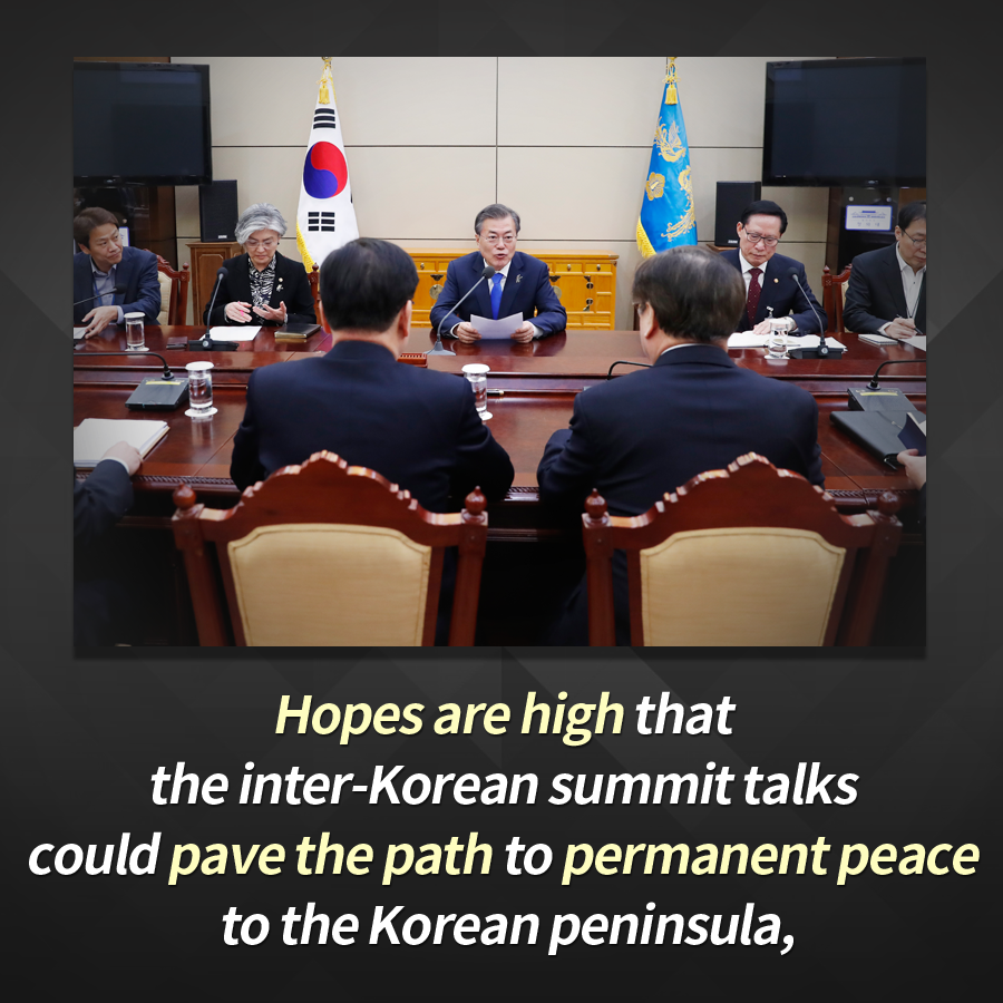 Hopes are high that the inter-Korean summit talks could pave the path to permanent peace to the Korean peninsula,