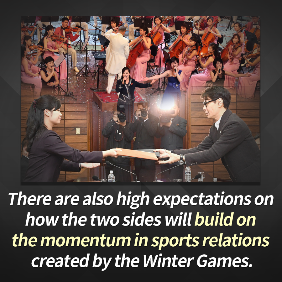 There are also high expectations on how the two sides will build on the momentum in sports relations created by the Winter Games.