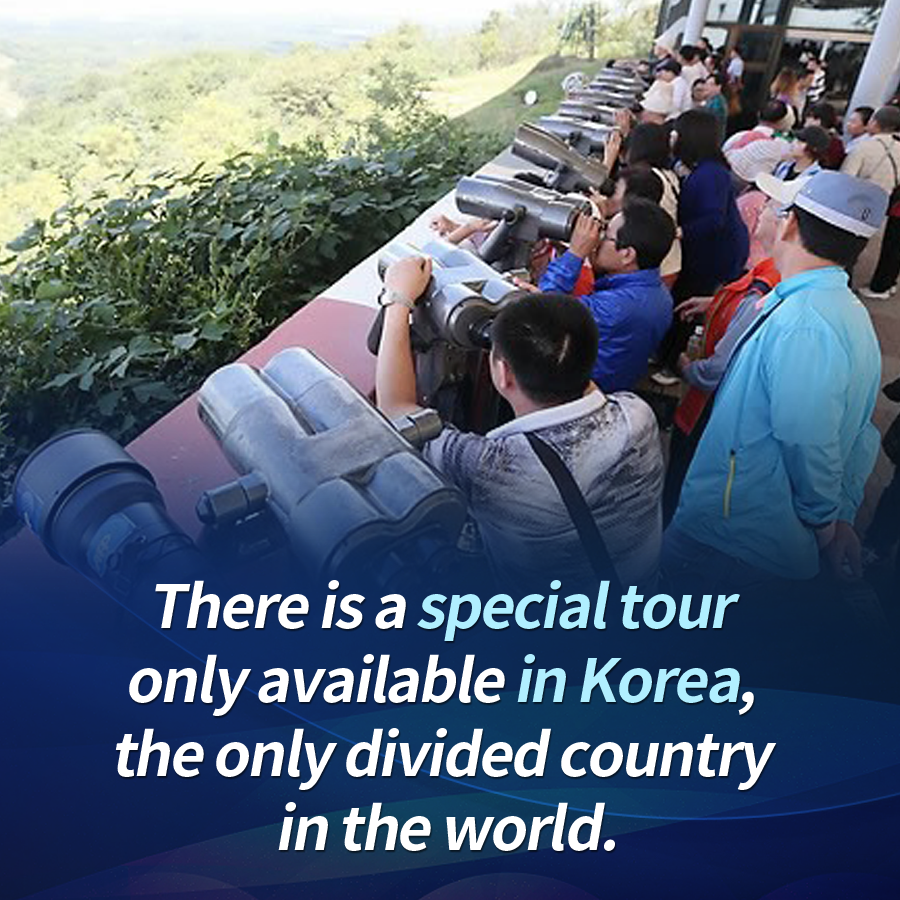 There is a special tour only available in Korea, the only divided country in the world.