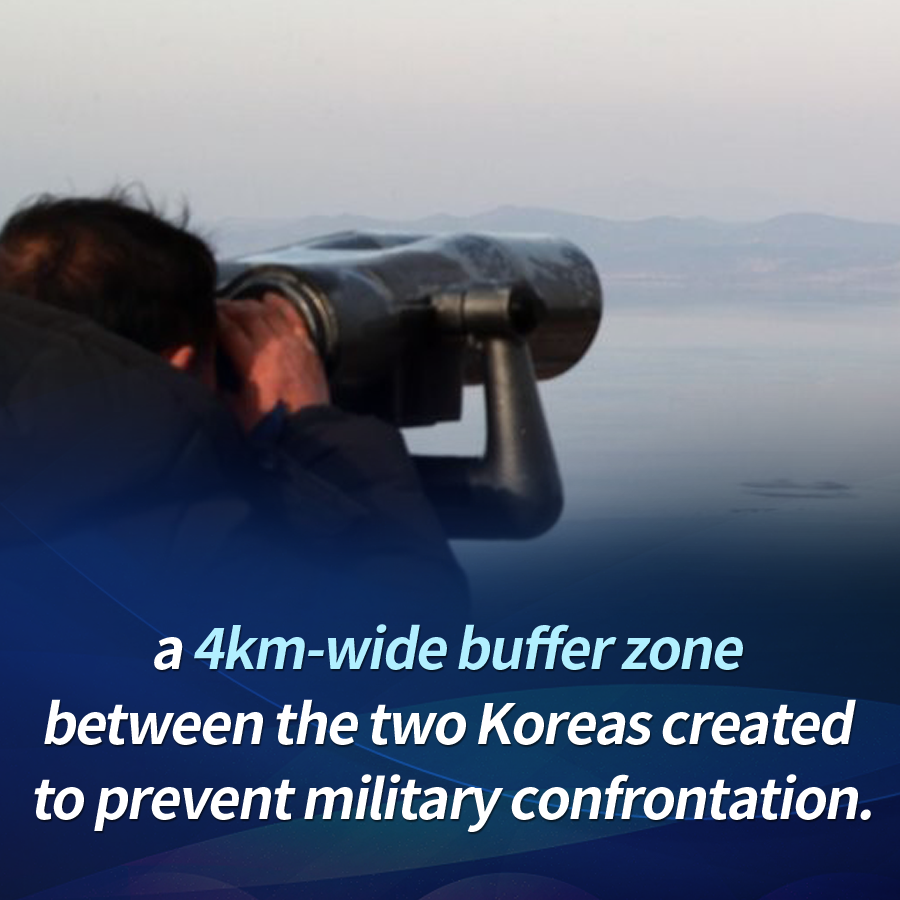 a 4km-wide buffer zone between the two Koreas created to prevent military confrontation.