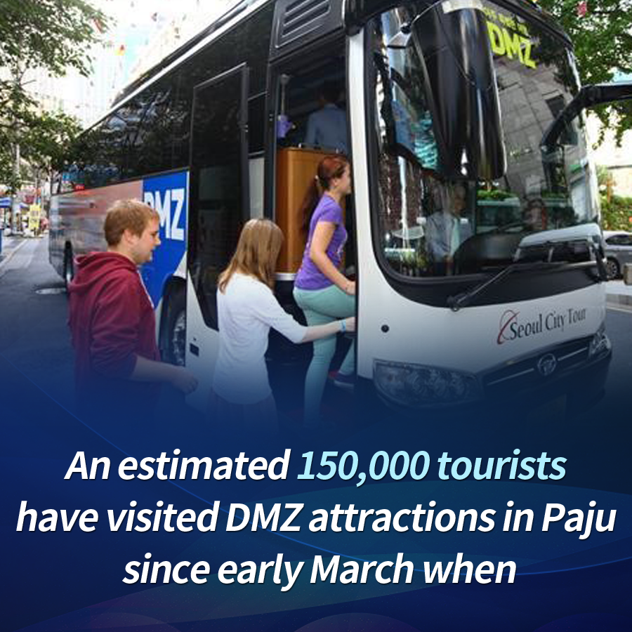 An estimated 150,000 tourists have visited DMZ attractions in Paju since early March when