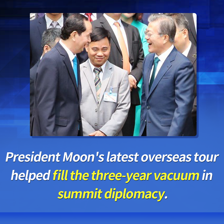 President Moon's latest overseas tour helped fill the three-year vacuum in summit diplomacy.