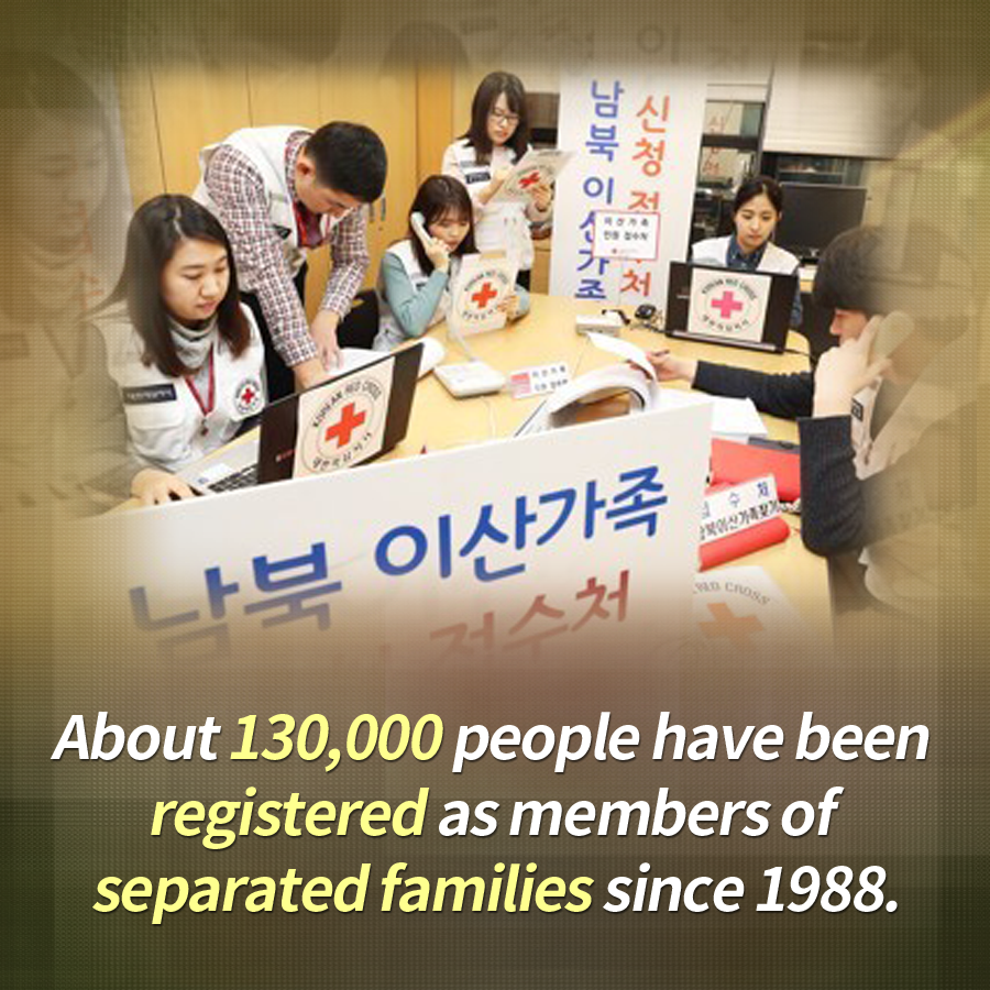 About 130,000 people have been registered as members of separated families since 1988.
