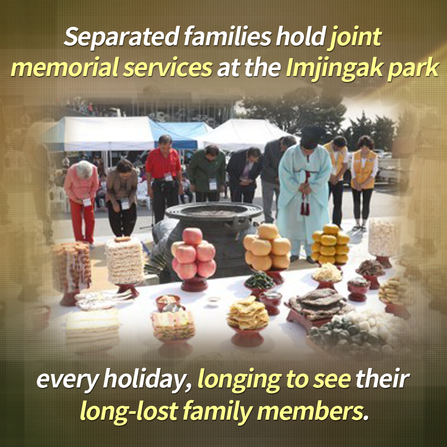 Separated families hold joint memorial services at the Imjingak park every holiday, longing to see their long-lost family members.