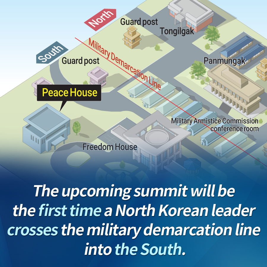 The upcoming summit will be the first time a North Korean leader crosses the military demarcation line into the South.