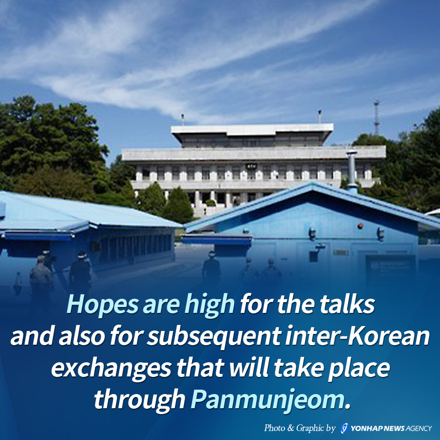 Hopes are high for the talks and also for subsequent inter-Korean exchanges that will take place through Panmunjeom.