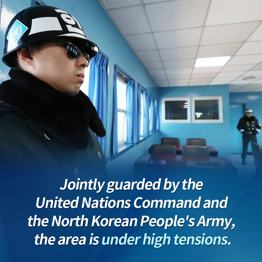 Jointly guarded by the United Nations Command and the North Korean People's Army, the area is under high tensions.