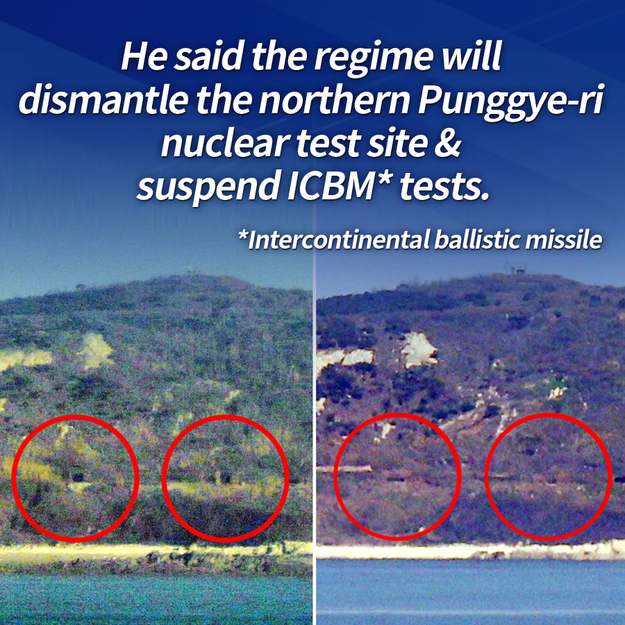 He said the regime will dismantle the northern Punggye-ri nuclear test site & suspend ICBM* tests. <br><br>