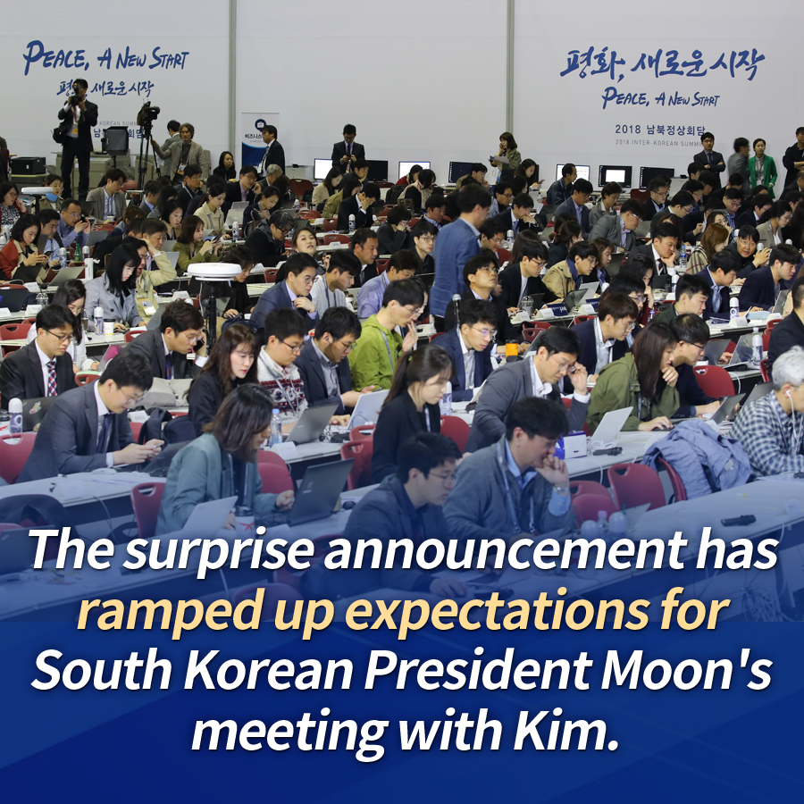 The surprise announcement has ramped up expectations for South Korean President Moon's meeting with Kim.