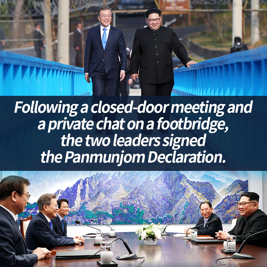 Following a closed-door meeting and a private chat on a footbridge, the two leaders signed the Panmunjeom Declaration.