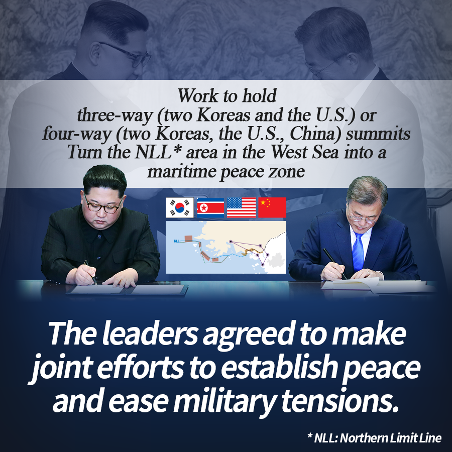 """Work to hold three-way (two Koreas and the U.S.) or four-way (two Koreas, the U.S., China) summits""<br>