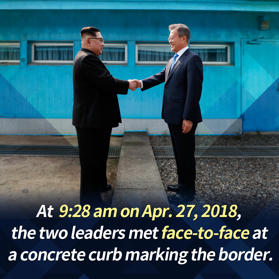 At 9:28 a.m. on Apr. 27, 2018, the two leaders met face-to-face at a concrete curb marking the border.