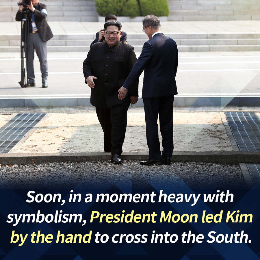 Soon, in a moment heavy with symbolism, President Moon led Kim by the hand to cross into the South.