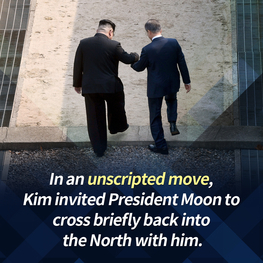In an unscripted move, Kim invited President Moon to cross briefly back into  the North with him.