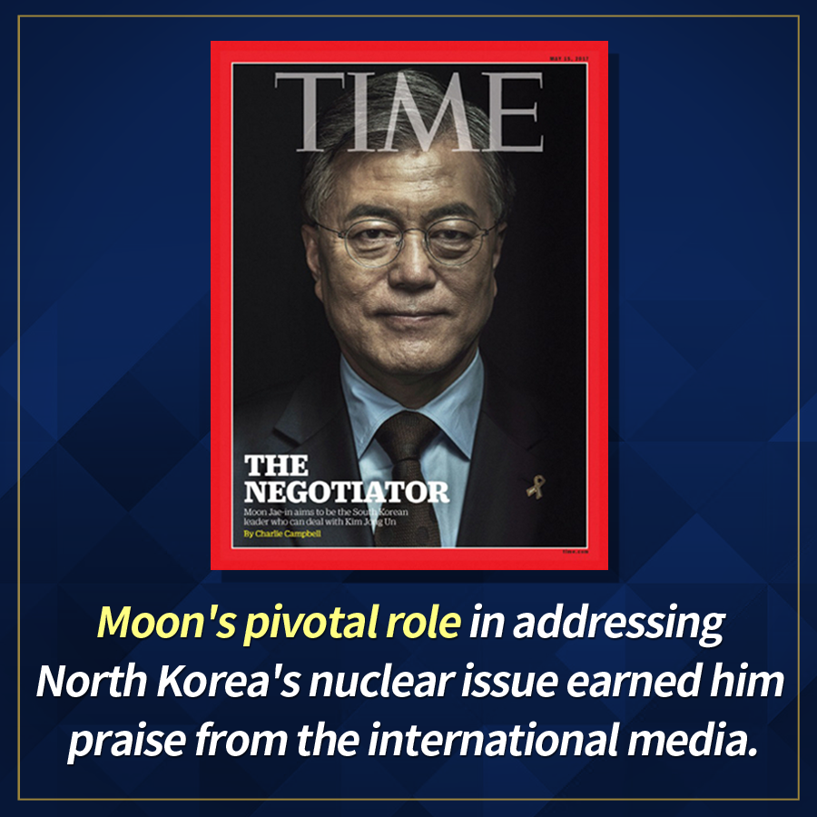 Moon's pivotal role in addressing North Korea's nuclear issue earned him praise from the international media.