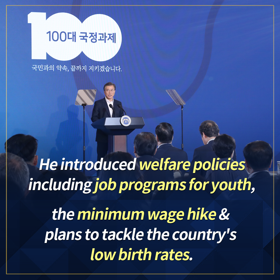 He introduced welfare policies including job programs for youth, the minimum wage hike & plans to tackle the country's low birth rates.