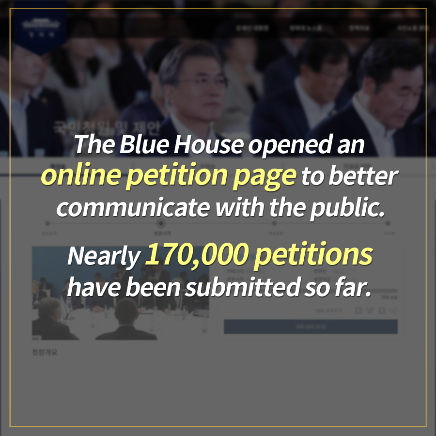 The Blue House opened an online petition page to better communicate with the public. Nearly 170,000 petitions have been submitted so far.