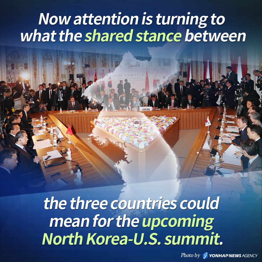 Now attention is turning to what the shared stance between the three countries could mean for the upcoming North Korea-U.S. summit.