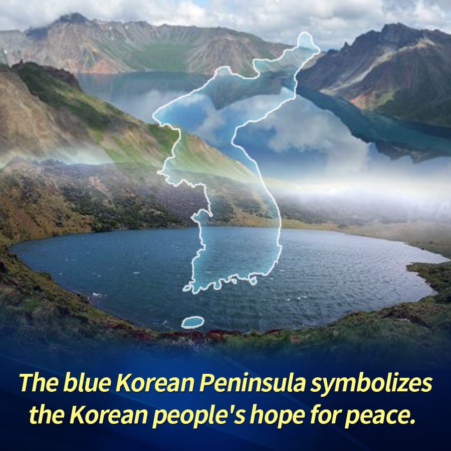 The blue symbolizes the Korean people's hope for peace.