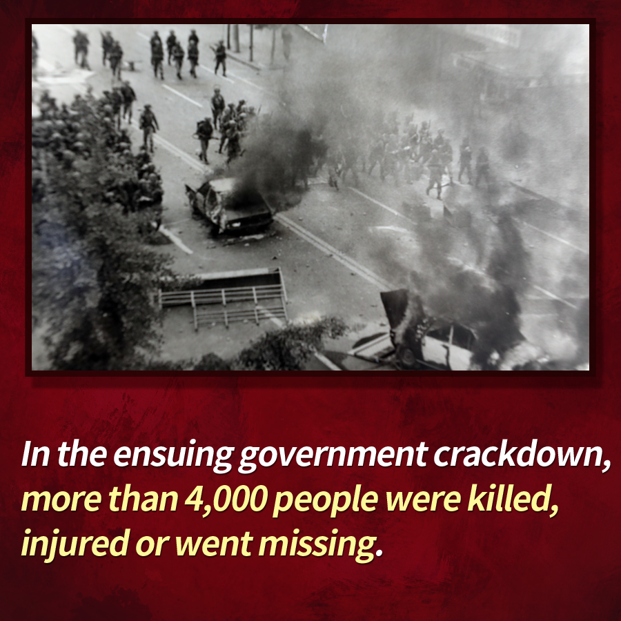 In the ensuing government crackdown, more than 4,000 people were killed, injured or went missing.