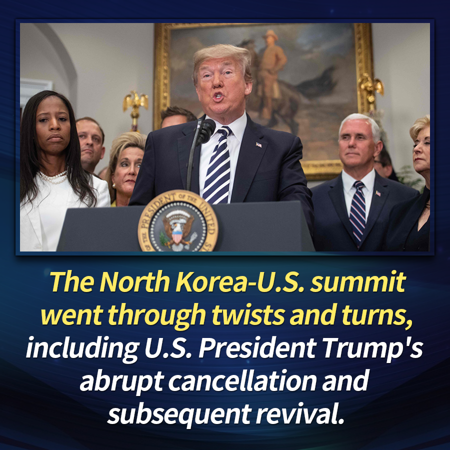 The North Korea-U.S. summit went through twists and turns, including U.S. President Trump's abrupt cancellation and subsequent revival.