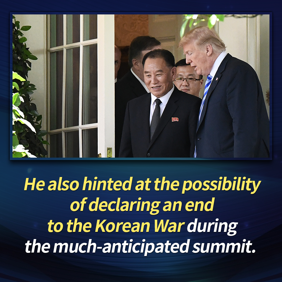 He also hinted at the possibility of declaring an end to the Korean War during the much-anticipated summit.