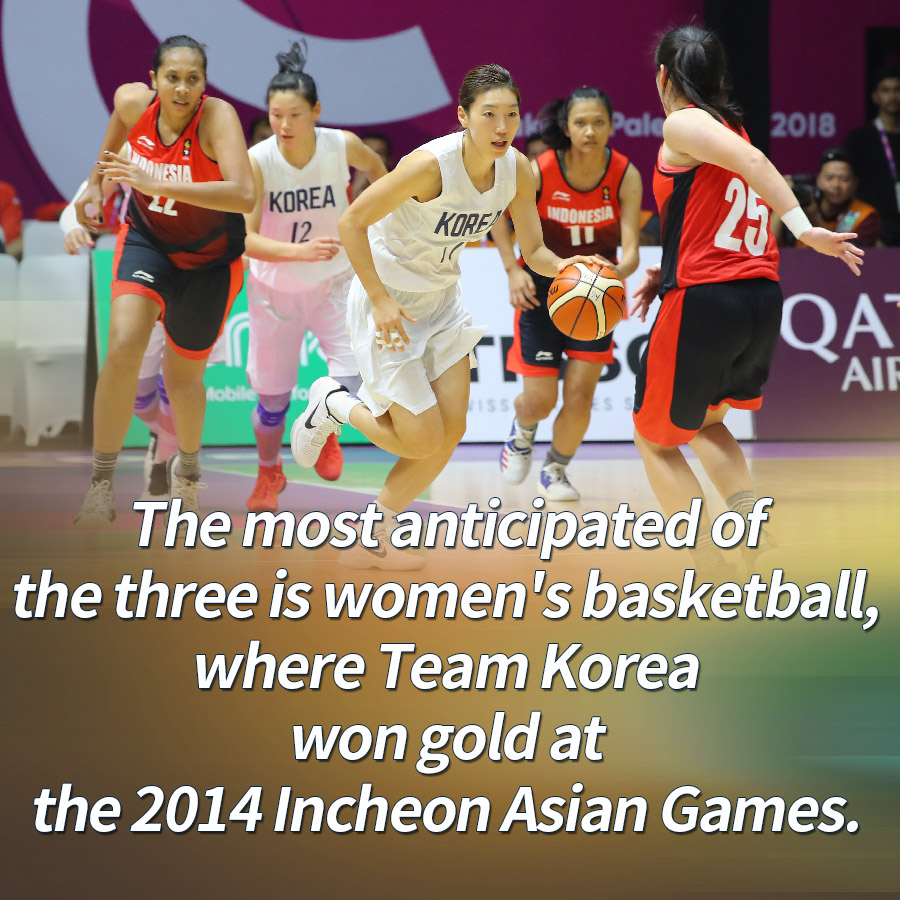 The most anticipated of the three is women's basketball, where Team Korea won gold at the 2014 Incheon Asian Games.
