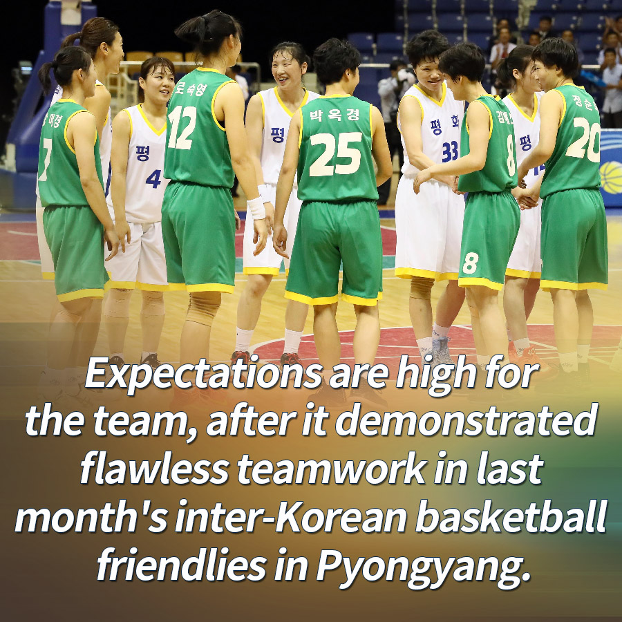 Expectations are high for the team, after it demonstrated flawless teamwork in last month's inter-Korean basketball friendlies in Pyongyang.