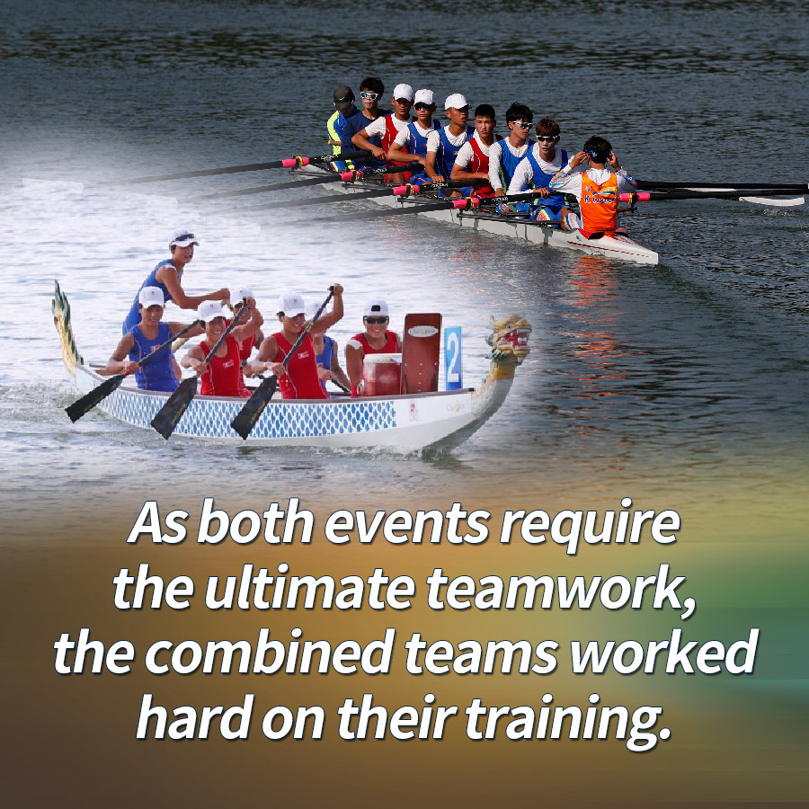 As both events require the ultimate teamwork, the combined teams worked hard on their training.