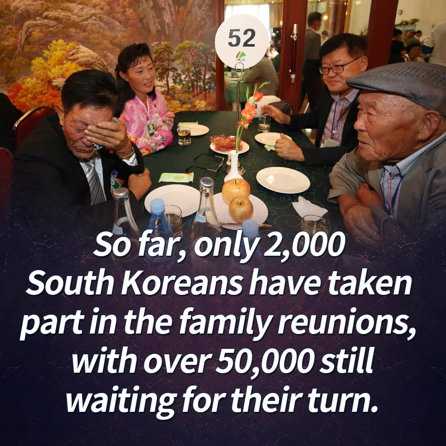 So far, only 2,000 South Koreans have taken part in the family reunions, with over 50,000 still waiting for their turn.